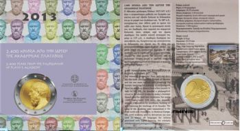 Greece 2 euro 2013: The 2400th Anniversary of the founding of Plato's Academy (coin card)