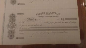 Greece BANQUE DE METELIN check 1891!!!!