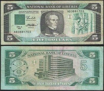 LIBERIA SET  5+10+20+50+100 Dollars 2008-2009 UNC