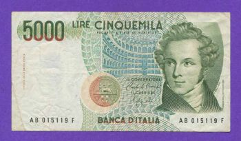 ITALY 5000 LIRE 1985 P-111 No1
