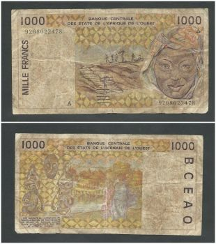 IVORY COAST(WEST.AFRICAN STATES) 1000 Francs 1989 P107A,UNC