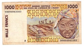 IVORY COAST (WEST.AFRICAN STATES) 1000 Francs 1987 P107 A UNC