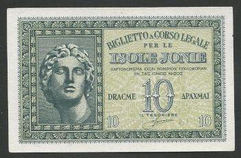 Greece: WWII  Isole Jonie Drachmae 10  UNC!