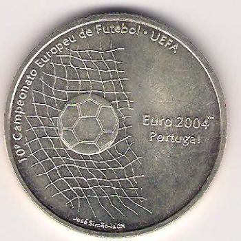 1000 ESCUDOS KM# 734 - UEFA SOCCER BALL 2004 PORTUGAL - 2001 - UNC - SILVER
