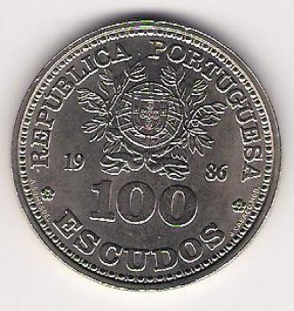 100 ESCUDOS - KM# 637 - WORLD CUP SOCCER MEXICO 1986 - UNC - COPPER-NICKEL