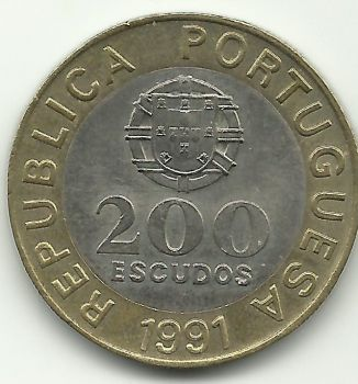 200 ESCUDOS - KM# 655 - GARCIA DE ORTA - 1991 - UNC - BIMETALIC