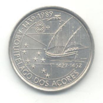 100 ESCUDOS - KM# 648 - DISCOVERY OF AZORES - ND(1989) - UNC - COPPER-NICKEL