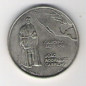 200 ESCUDOS - KM# 661 - JOAO RODRIGUES CABRILHO - ND(1992) - UNC - COPPER-NICKEL