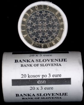 Slovenia 3 Euro roll CC 2008 20 x 3 Euro coin