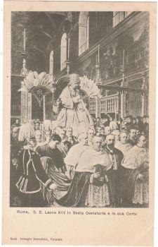 Roma S.S Leone XIII in Sedia Gestatoria e la sua Corte