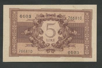 5 Lire Circulated in Greece ( Ionian Islands) UNC or very near!!