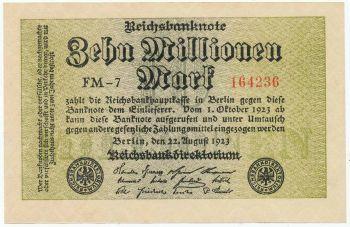 GERMANY 10 Millionen Mark 1923 UNC