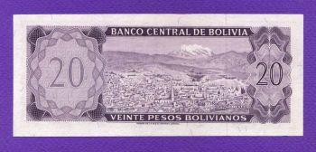 BOLIVIA 20 PESOS 13-7-1962 UNC