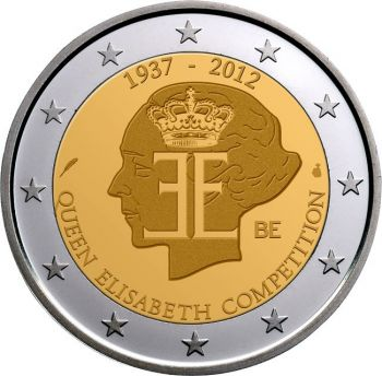 BELGIUM 2 EURO COIN 2012 - QUEEN ELISABETH COMPETITION UNC