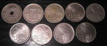 Norway 9 διαφορετικά νομίσματα των 25 ORE