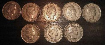 SWITZERLAND  8 διαφορετικά νομίσματα των 5 rappen 1939 - 1950