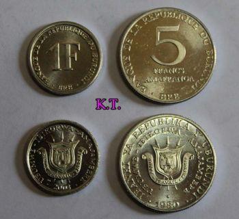 BURUNDI σετ 2 UNC νομίσματα 1 και 5 φράγκα