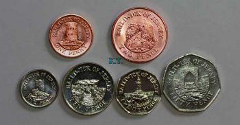JERSEY set 6 διαφορετικά ακυκλοφόρητα νομίσματα UNC