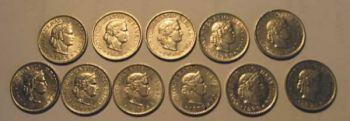 SWITZERLAND 11 διαφορετικά νομίσματα των 5 rappen 1966-1979