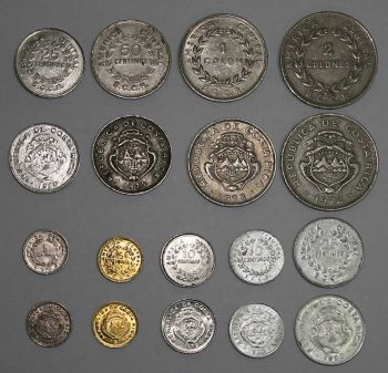 COSTA RICA σετ 9 παλαιότερα νομίσματα κυκλοφορίας