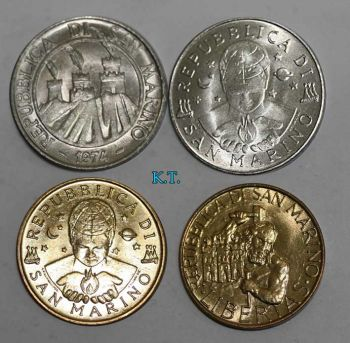 SAN MARINO 4 διαφορετικά ακυκλοφόρητα νομίσματα