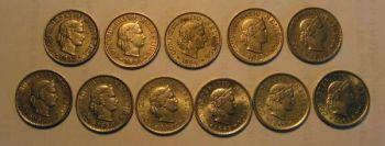 SWITZERLAND 11 διαφορετικά νομίσματα των 5 rappen 1952-1965