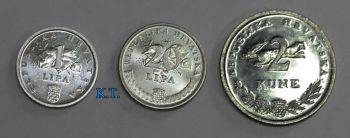 CROATIA σετ 3 ακυκλοφόρητων νομισμάτων