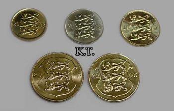 ESTONIA σετ 5 UNC νομίσματα 10-20-50 cent + 1-1 Krones