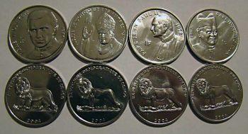 CONGO Πάππας JOHN PAUL II  σετ 4 διαφορετικά UNC νομίσματα