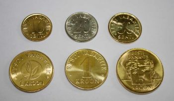 ESTONIA σετ 6 UNC νομίσματα 10-20-50 cent + 1-1-5 Krones