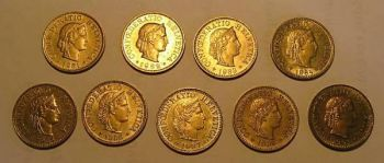 SWITZERLAND 9 διαφορετικά νομίσματα των 5 rappen