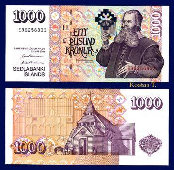 ICELAND 1000 KRONUR  2001 (bishop Brynjolfur) P-60 UNC