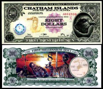 CHATHAM ISLANDS 8 DOLLARS COMMEMOR. 2001 UNC