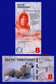 ARCTIC TERRITORIES 8 DOLLARS  2011 POLYMER UNC