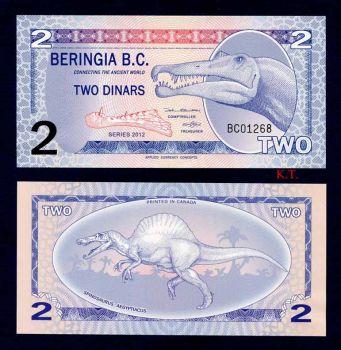 BERINGIA B.C. 2 DINARS 2012 POLYMER UNC