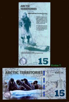 ARCTIC TERRITORIES 15 DOLLARS 2011 POLYMER UNC