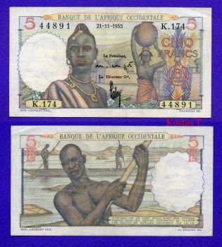 FRENCH WEST AFRICA 5 FRANCS 21-11-1953