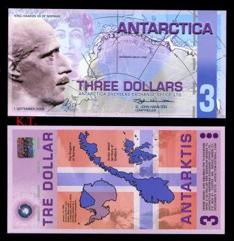 ANTARCTICA 3 DOLLARS POLYMER 1-9-2008 UNC