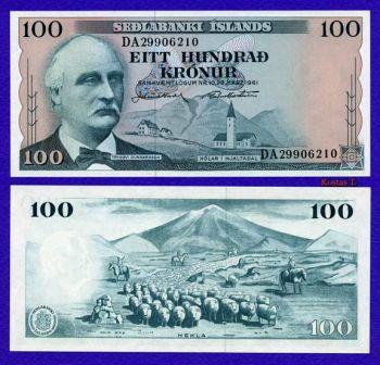 ICELAND 100 KRONUR 29 -3 -1961 P 44 UNC