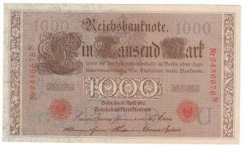 Germany Empire Banknote 1000 mark 1910 N/U -  AU