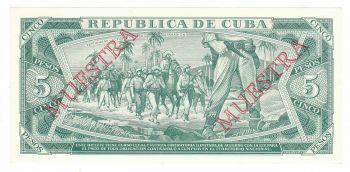 Cuba 5 Pesos 1988 UNC P. 103 Muestra