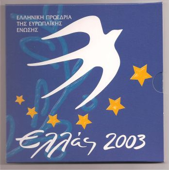 Greece: Official Triptych 2003 (Greek Presidency) with 10 EURO silver coin! Rare!