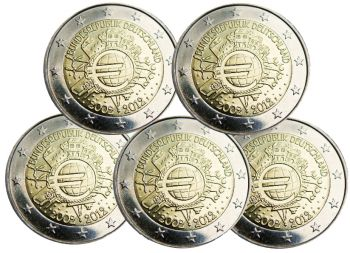 Germany – 2 Euro, 10 Years of EURO cash currency, 2012 (5 mints A,D,F,G,J)