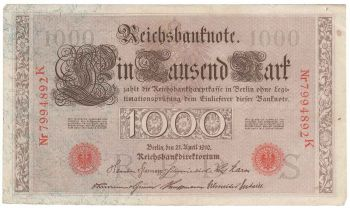 Germany Empire Banknote 1000 mark 1910 N/S -  VF