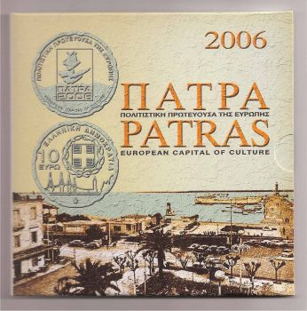 Greece: Official Triptych 2006 (PATRA) with 10 EURO silver coin!!