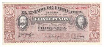 MEXICO, CHIHUAHUA, 20 Pesos, 1914, Crisp