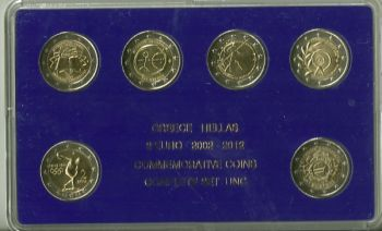GREECE ALL THE 2 EURO COMM. 2004 - 2012 UNC  IN HARD PLASTIC CASE  !!!