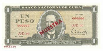 Cuba 1 Peso 1985 UNC Muestra