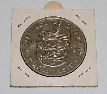 Bailiwick of Guernsey 25 Pence 1978 commem. Royal Visit AUNC