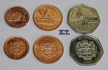 GUYANA σετ 3 UNC νομίσματα